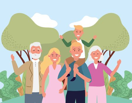 cute woman and man with their son and parents vector illustration