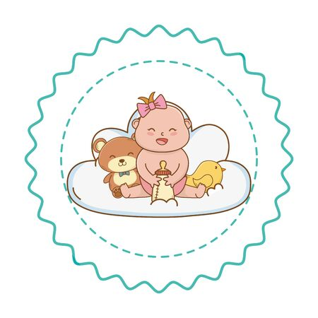 Baby shower girl baby holding bottle with teddy and bird between cloud cartoons in round label stamp vector illustration graphic design