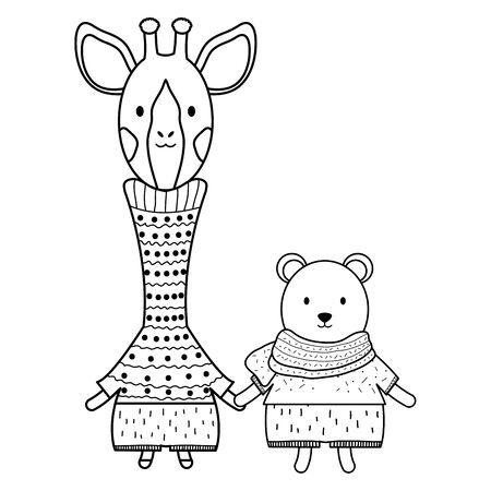 cute giraffe with polar bear vector illustration design Foto de archivo - 128839230