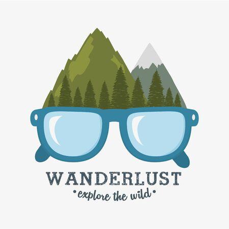 wanderlust label with forest scene and eyeglasses vector illustration design