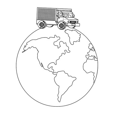 truck over a globe in black and white Çizim