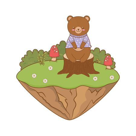 cute bear in the field woodland character