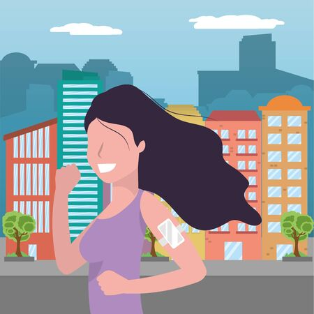woman running portrait with sportwear avatar cartoon character cityscape vector illustration graphic design
