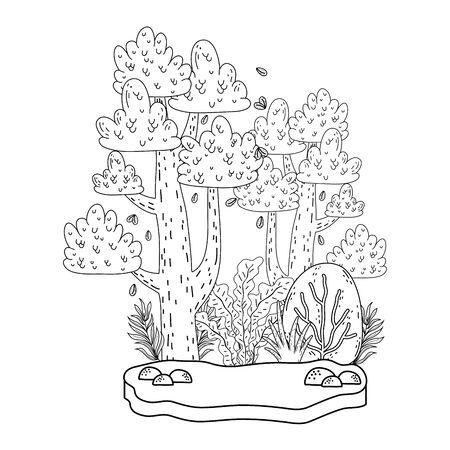 beautiful forest landscape scene vector illustration design