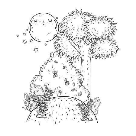 beautiful landscape night with moon kawaii character vector illustration design