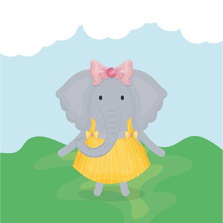 cute female elephant with clothes character vector illustration design Ilustração