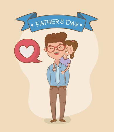 father and daughter characters card vector illustration design Ilustração
