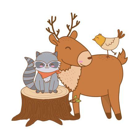 cute animals in truck woodland characters vector illustration design Ilustração