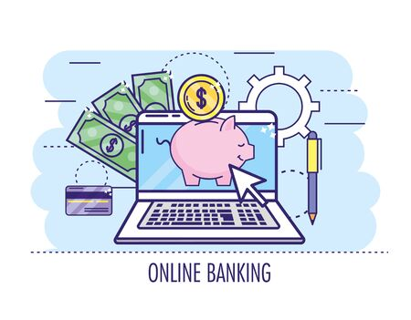 laptop with peggy and credit card to online banking vector illustration Ilustração