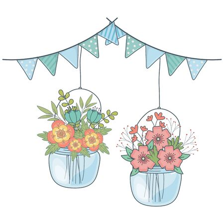 floral nature flowers with glass bottles party scene with pennants cartoon vector illustration graphic design