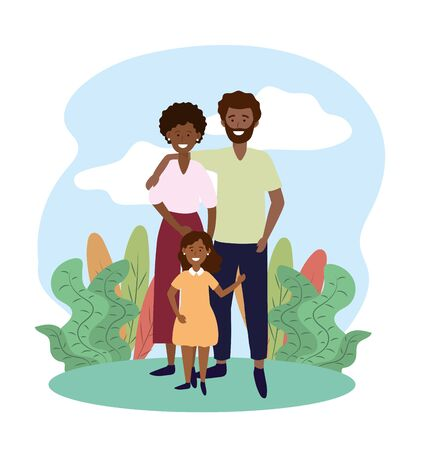 cute woman and man couple with their daughter vector illustration