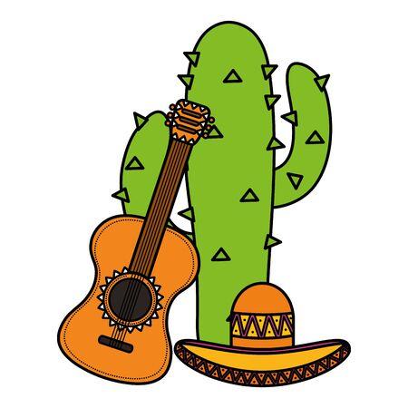 cactus plant with mexican hat and guitar vector illustration design Ilustración de vector