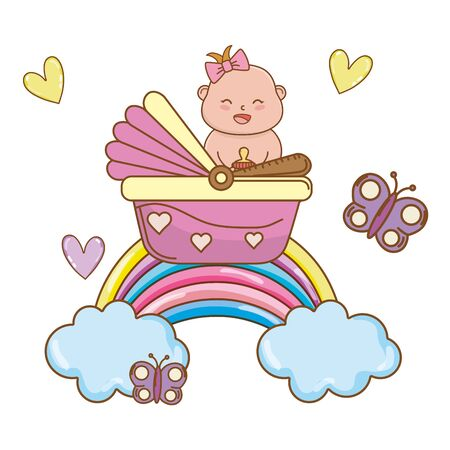 cute baby shower baby with babycare elements cartoon vector illustration graphic design