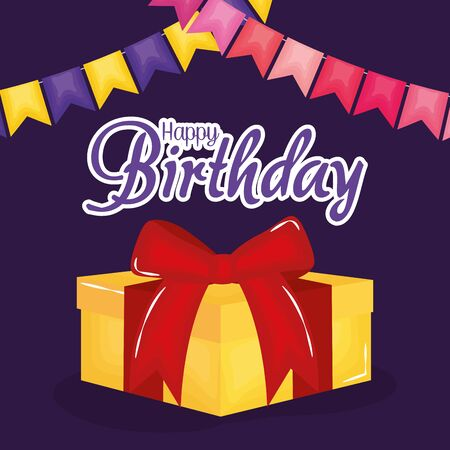 happy birthday card with gift and garlands vector illustration design