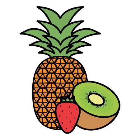 fresh kiwi with pineapple and strawberry vector illustration design Ilustração