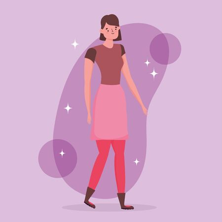 young woman character - happy friendship day flat design vector illustration