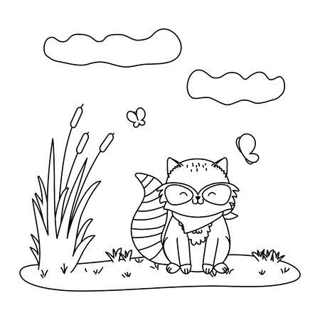 cute little animal raccoon cartoon vector illustration graphic design