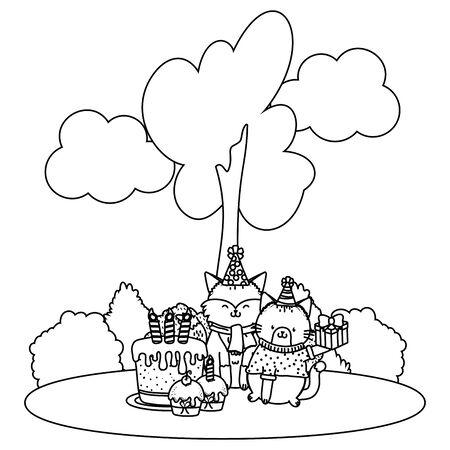 cute adorable animals birthday party outdoor scene festive cartoon vector illustration graphic design Ilustração