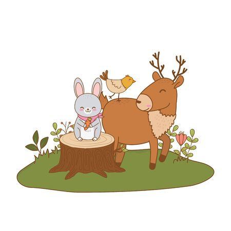 cute reindeer and rabbit in the field woodland characters