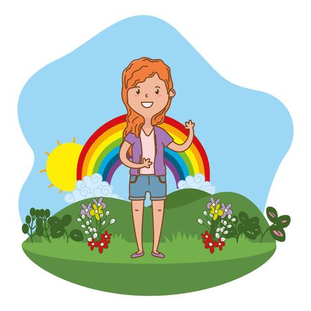 childhood happy child girl at outdoor scene with rainbow cartoon vector illustration graphic design