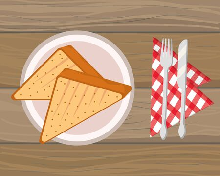 delicious tasty food toast bread wooden background cartoon vector illustration graphic design