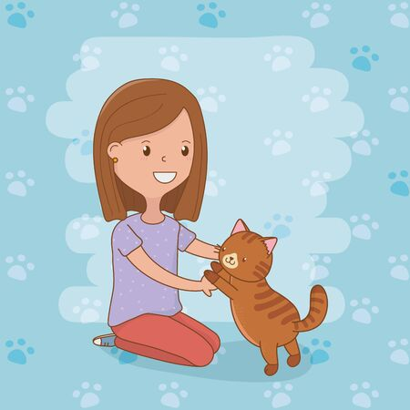 young woman with cute cat mascot vector illustration design