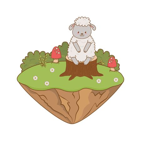 cute sheep in the field woodland character vector illustration design