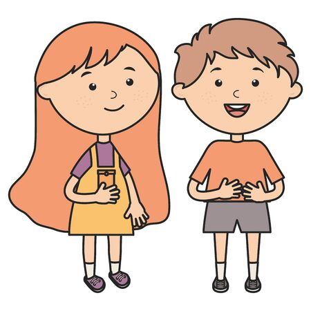 cute little kids couple characters vector illustration design