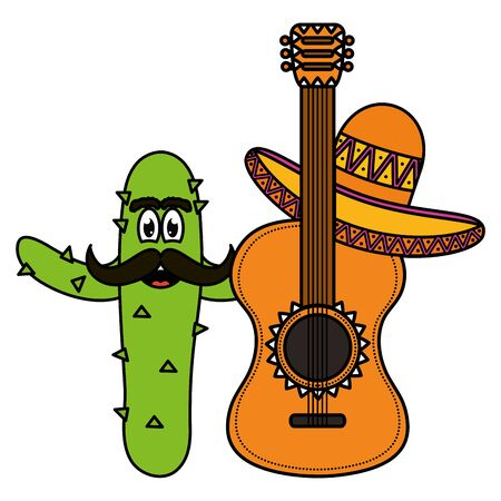 mexican cactus with hat and guitar comic character vector illustration design Stock Illustratie