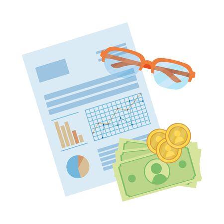 saving money finance elements cartoon vector illustration graphic design Ilustração