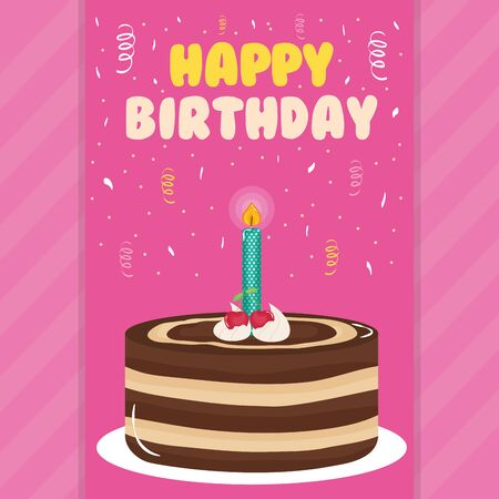 happy birthday card with sweet cake and candle vector illustration design Ilustração