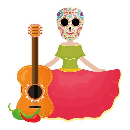 traditional katrina with guitar and chilli peper character vector illustration design