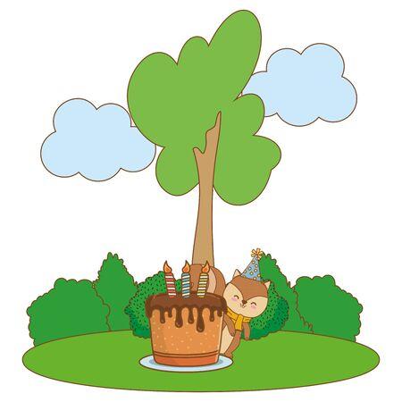cute adorable animal squirrel birthday party outdoor scene festive cartoon vector illustration graphic design Stock Illustratie