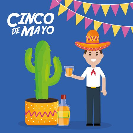 cinco de mayo celebration with man and cactus plant vector illustration design