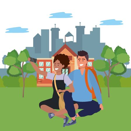 Millennial student couple afro woman wearing dress using smartphone taking selfie on college or university campus with cityscape background vector illustration graphic design Çizim