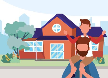 casual happy people family father with son in front urban house home cartoon vector illustration graphic design