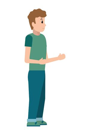 young man avatar with arms up cartoon vector illustration graphic design
