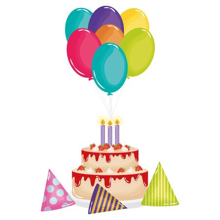 delicious sweet cake with strawberries and candles ,balloons helium vector design Ilustração