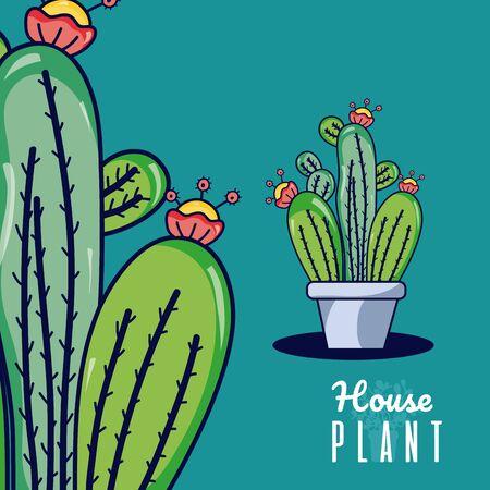 Set of cactus in pots cute cartoons vector illustration graphic design Stock Illustratie