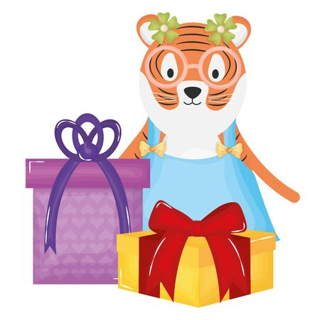 cute tiger with gift box in party celebration vector illustration design 向量圖像