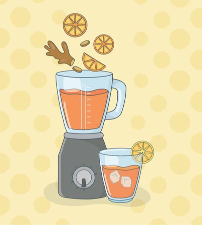 blender with oranges and cinnamon healthy preparation vector illustration design