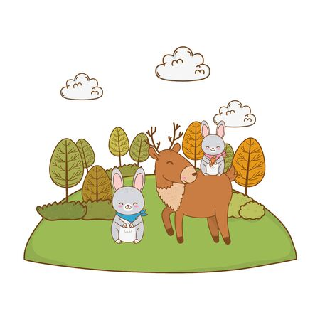 cute animals in the field woodland characters vector illustration design 向量圖像