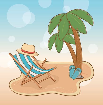 beach with chair travel vacations scene vector illustration design