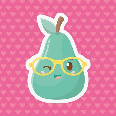 delicious tasty sweet fruit pear cartoon vector illustration graphic design