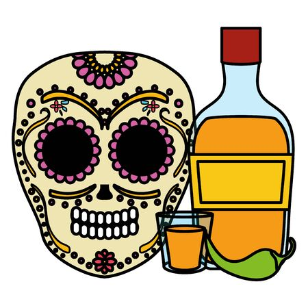 mexican skull death mask with tequila bottle vector illustration design  イラスト・ベクター素材