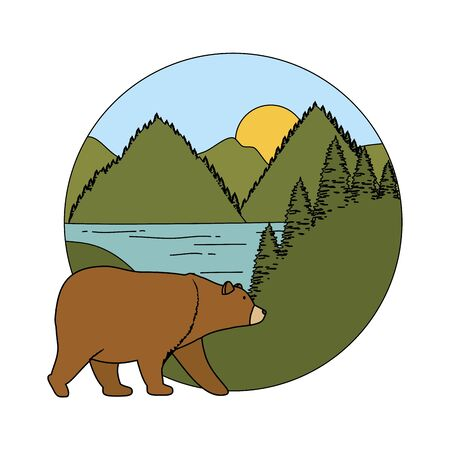 mountains with bear grizzly scene vector illustration design Stock Illustratie