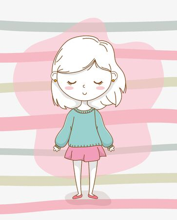 beautiful little girl with pastel colors vector illustration design