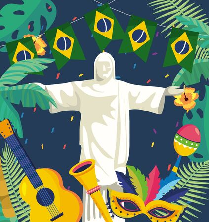 christ redeemer with party brazil banner