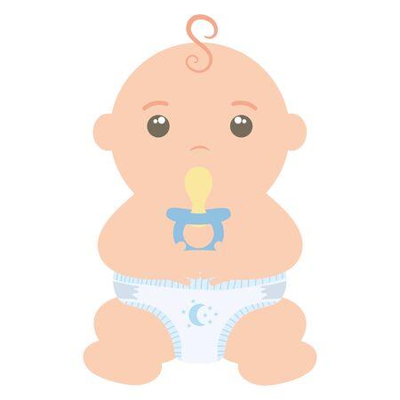 cute little baby boy with pacifier vector illustration design Vektorgrafik