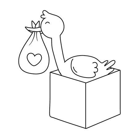stork holding a clothbag with box icon cartoon vector illustration graphic design Standard-Bild - 128927355